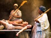 Bongile Mantsai and Hilda Cronje and Thoko Ntshinga and Tandiwe Nofirst Lungisa in Mies Julie. Photo Murdo MacLeod.