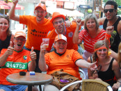 Dutch fans in Montreal celebrate the 2-1 Netherlands victory over Mexico today at the 2014 FIFA World Cup round of 16 game. Photo Germán Silva.