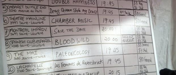 Montreal Fringe Festival Calendar.
