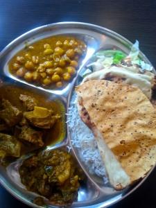 Chana Masala, Lamb Curry, Potato and Eggplant dish. Photo by Annie Shreeve