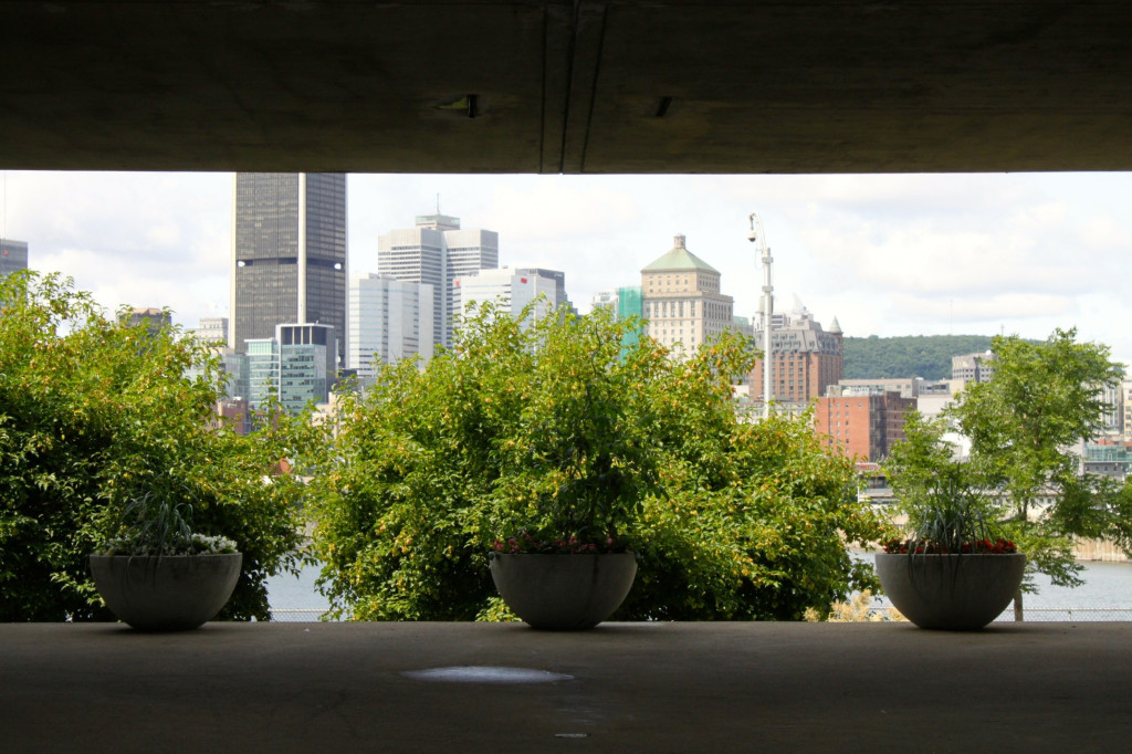 Inside Habitat 67 looking towards the city. Photo by Annie Shreeve