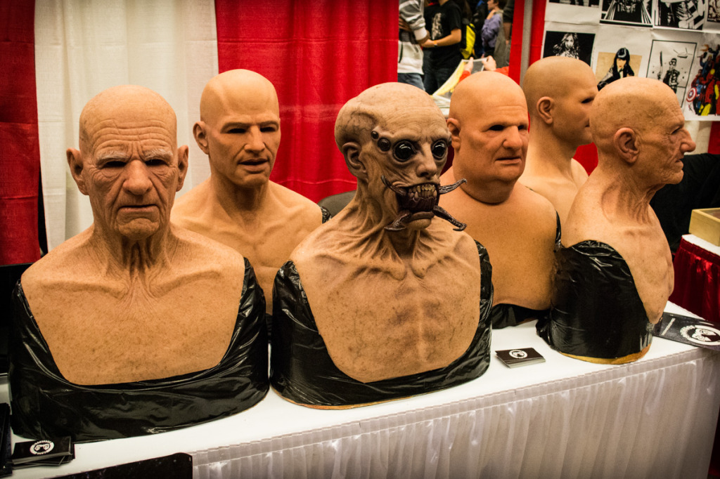 Masks from Real Flesh Masks. Montreal Comiccon. Photo Jean Frederic Vachon.