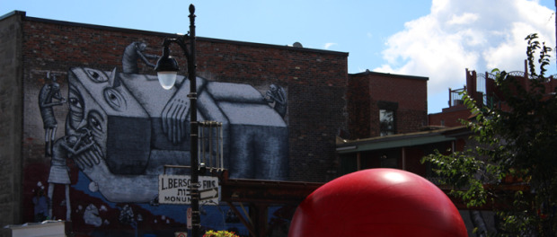 Redball Project on St. Laurent. Artist Kurt Perschke. Photo Magali Crevier