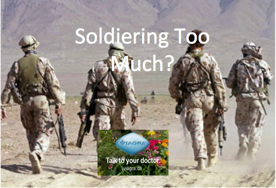 Soldiering Too Much Spoof Ad.