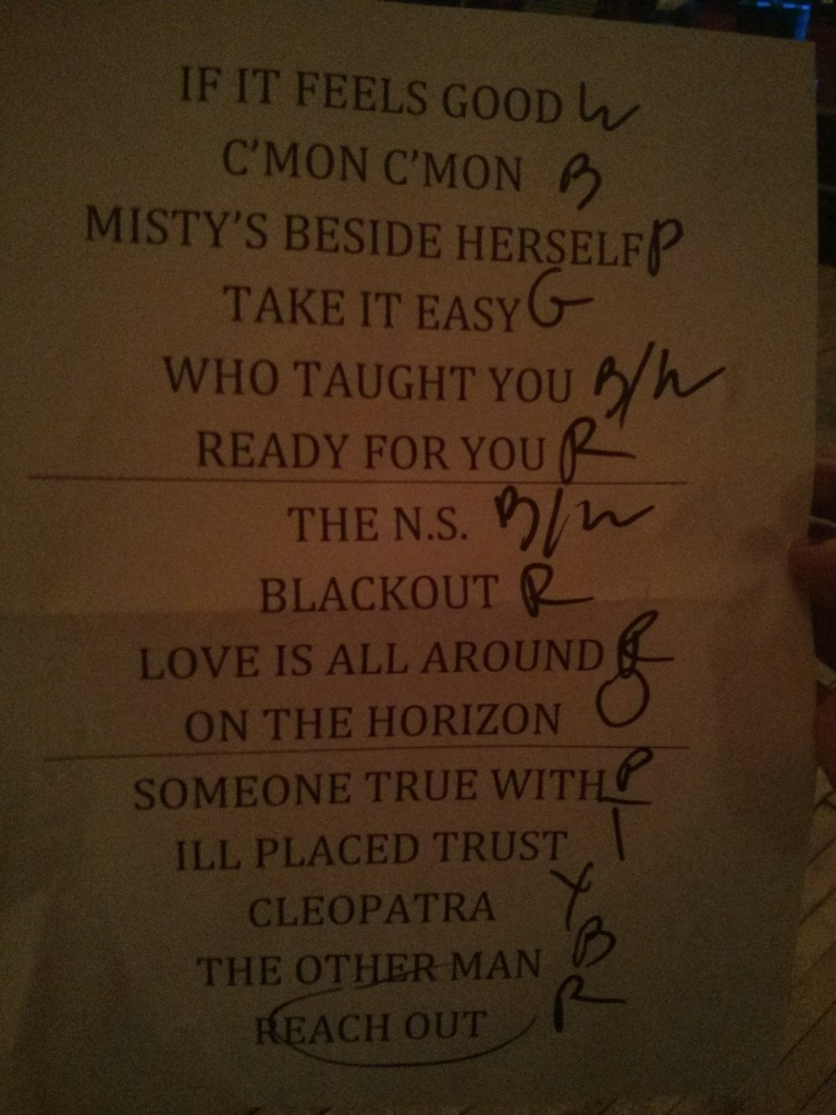 Sloan. Set List. Photo Vivika Ballard.