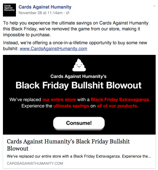 Cards against Humanity facebook page screenshot of Bullshit Blowout