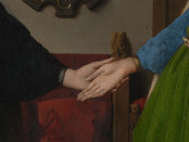 Arnolfini Portrait (detail) by Jan van Eyck. 1434, oil on oak. Currently in the National Gallery, London.