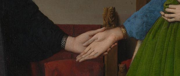 Arnolfini Portrait (detail) by Jan van Eyck. 1434, oil on oak. Currently in the National Gallery, London.