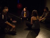 Circle Mirror Transformation. Photos by Talya Chalef. Beautiful City Theatre. (left to right) Gene Santarelli (James), Mary Liz Lewis (Marty), Eleni Metrakos (Lauren), Renée Hodgins (Theresa), Douglas Rossi (Schultz)