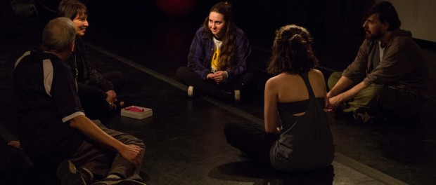 Circle Mirror Transformation. Photos by Talya Chalef. Beautiful City Theatre. (left to right) Gene Santarelli (James), Mary Liz Lewis (Marty), Eleni Metrakos (Lauren), Renée Hodgins (Theresa), Douglas Rossi (Schultz)