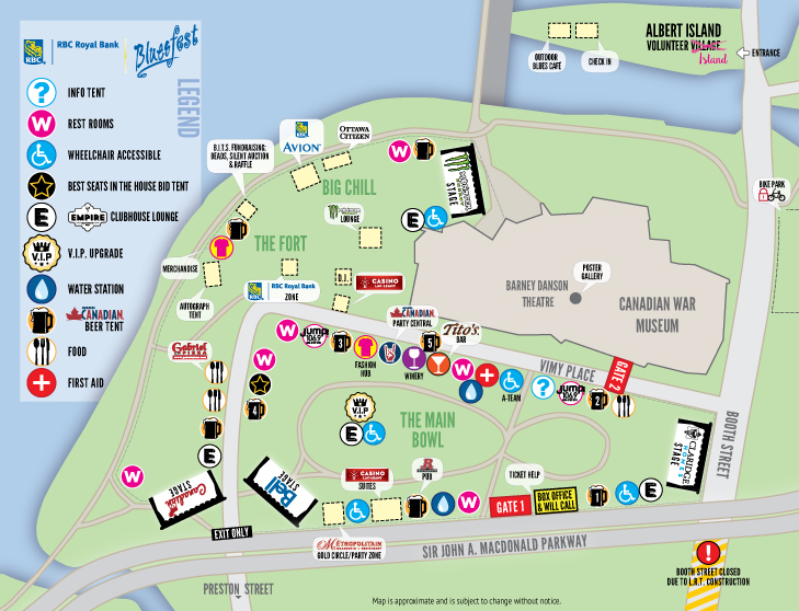 Ottawa Bluesfest 2015 Festival Map