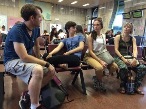 Jason, Sophie, Jeannine, and Marta, Waiting for the train home, Bologna, Italy, photo: Julie Santini