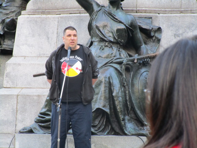 Speaker. Missing and Murdered Aboriginal Women March and Vigil. Photo Rachel Levine