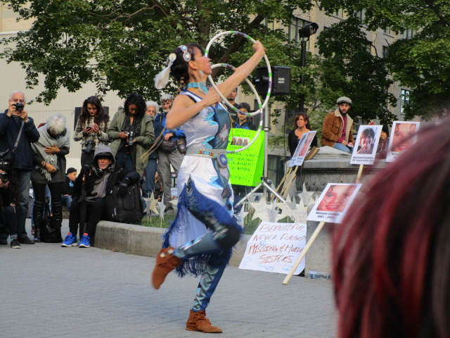 Hoop dancer. Missing and Murdered Aboriginal Women March and Vigil. Photo Rachel Levine