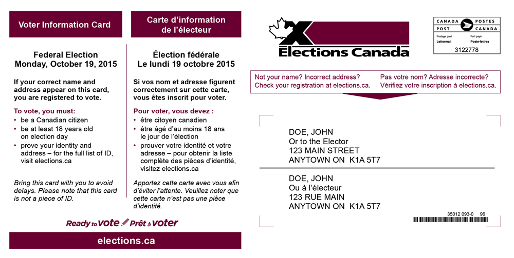 elections canada voter card