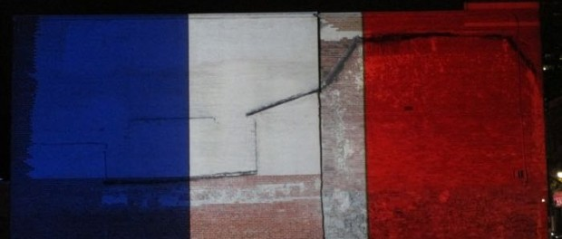 tricolor flag. Plateau St. Laurent. Photo Rachel Levine