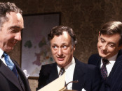 Publicity photo for Yes Minister. Left to right: Nigel Hawthorne, Paul Eddington, and Derek Fowlds. Credit: BBC/JonathanLynn.com