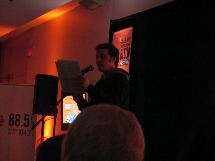 Xavier Roy reading at Blue Metropolis. Photo Rachel Levine