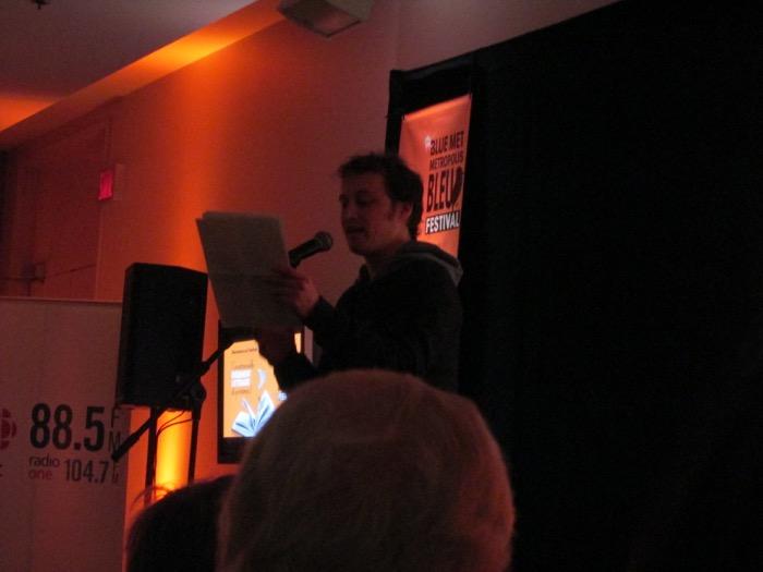 Xavier Roy reading at Blue Metropolis. Photo Rachel Levine