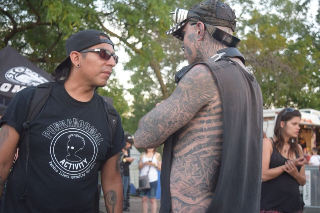 Pedro of Punkanormal Activity talking to Rico the Zombie. 77 Montreal 2017. Photo by Chris Aitkens.