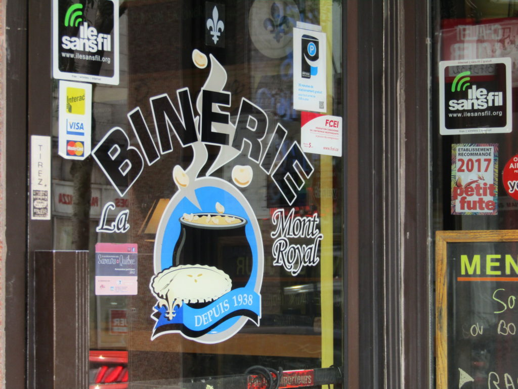 Binerie. Breakfast and Diner. Diner. Rue Mt. Royal. Plateau. Photo Rachel Levine.