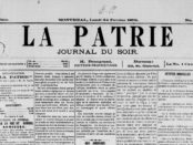 "Front page of ""La Patrie"", 1879. Photo courtesy of the City of Montréal/Bibliothèque et archives nationales du Québec (call number: 669 JOU)."