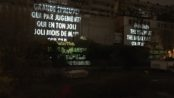 Leonard Cohen projected onto Silo No. 5. Jenny Holzer. Old Port. Photo Rachel Levine