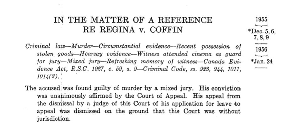 Re: R. v. Coffin, Supreme Court of Canada, 1956.